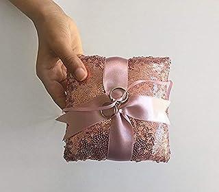 Wedding Ring Pillow, Ring Bearer, Pink, Cushion, Sequin, Rose, Boho Wedding