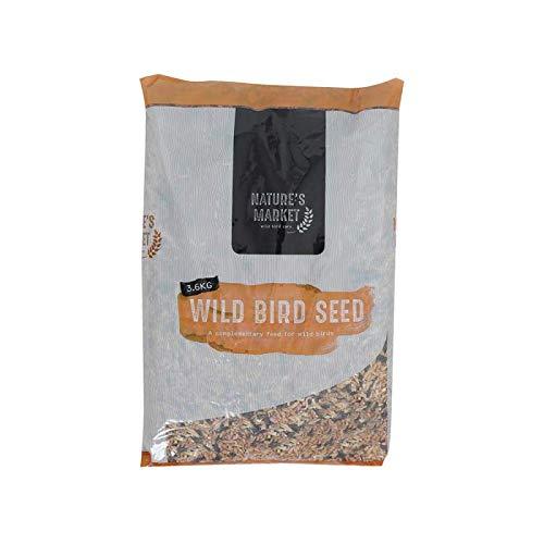 Mangeoire de graines pour oiseaux sauvages 3,6 kg – Aliments naturels pour étourneaux, muguets, moineau verts, pigeons de bois et bien plus encore.