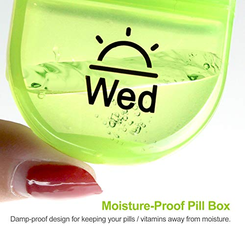 AUVON iMedassist Portable Daily Pill Organizer (Twice-A-Day), Weekly AM/PM Pill Box Case with Moisture-Proof Design for Purse and Pockets to Hold Vitamins, Fish Oil, Supplements and Medication