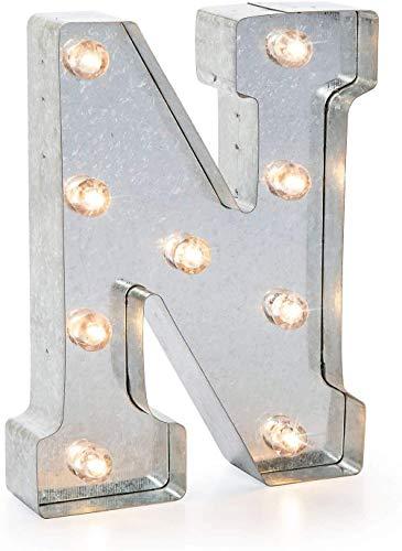 Darice LED Metal-Buchstabe N, Metall, Silver, 25.5 x 19 x 5 cm