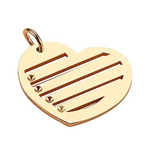 WANM Colgante Charms Etiquetas De Identificación De Acero Inoxidable En Forma De Corazón para Hombres, Mujeres, 5 Uds, Etiquetas para Mascotas En Blanco, Joyería, Colgante Pulido con Espejo
