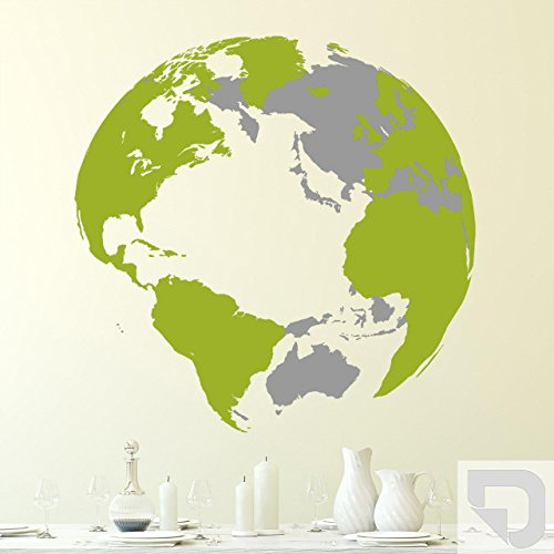 DESIGNSCAPE® Wandtattoo Weltkugel 3D 113 x 112 cm (Breite x Höhe) Farbe 1: hellgrau DW807019-L-F22