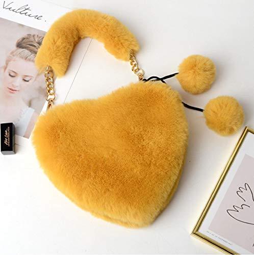 Heart Shaped Plush Purse Cell Phone Bag Crossbody Chain Bag Fluffy Shoulder Bag Peach Heart Messenger Bag Red A3