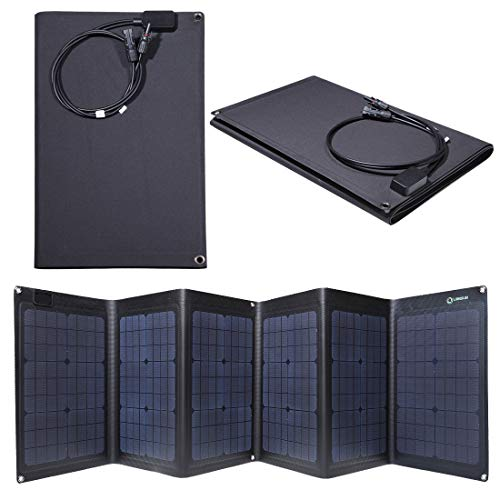 Lensun ETFE Coating 100W 18V Black Portable Folding Solar Charger Panel for 12V Batteries, Completely Waterproof, Best and Thinnest Foldable Solar Panel