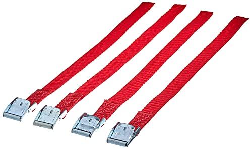 Cora 1068270 Set 4 Chinghietti Ricambio con Fibbia Metallica per Il fissagio delle Ruote ai portabici, Rosso, 38cm, Set di 4