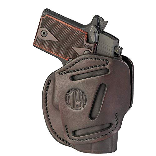 1791 GUNLEATHER 3-Way SIG P365 Holster - OWB CCW Holster Ambidextrous - Right or Left Handed Leather Gun Holster - Fits Sig Sauer P365, Ruger LCP 380, SW Bodyguard (Signature Brown)