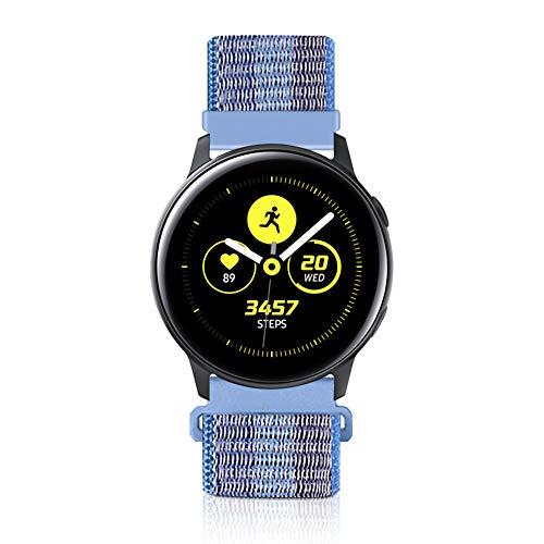 KIBDSNG Correa de nailon de 20 mm compatible con Garmin Vivoactive3/Galaxy Watch Active2 de 40 mm, 44 mm, Galaxy Watch de 42 mm, correa de repuesto suave y transpirable (20 mm, azul rayado)