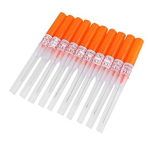 Simlug Aguja Perforadora para el Cuerpo, 4 tamaños, 10 Piezas, Agujas estériles Desechables para Tatuaje Corporal estéril para Nariz, Oreja, Labio(14G-Naranja)
