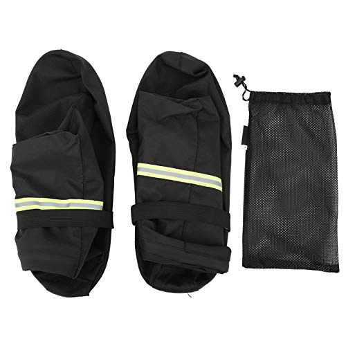 Cubierta para zapatos de tubo alto para exteriores, cubierta para zapatos de senderismo antideslizante reutilizable con diseño de cremallera(negro)