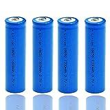 Batería de ion de litio recargable de 1200 mAh 18650 de 3,7 V, batería de ion de litio, gran capacidad, botón superior 18650 que se utiliza para cargar el faro 1000 veces (4 Piezas)