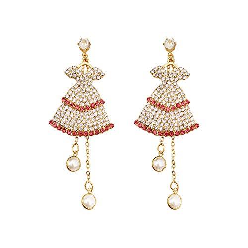 Lange Damenohrringe aus Sterlingsilber Design-Kleid mit Diamantperlen-Ohrringen Hypoallergen Elegantes und schönes Geschenk SDHJMT