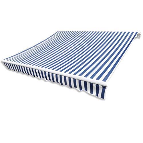 Festnight Zonneschermdoek met luifel handmatig uitschuifbaar Handmatig zonnescherm met zonnescherm Tuinterras Gazebo Multi-streep met fittingen en slinger 6 x 3 m canvas blauw/wit (exclusief frame)
