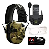 Walkers Razor Slim Electronic Shooting Muff (MultiCam Camo Tan) with Walkie Talkie, OTG Shooting Glasses, and Focus Cleaning Cloth Bundle (4 Items)