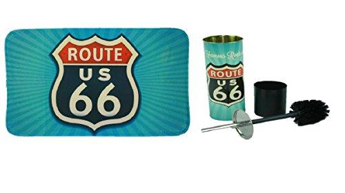Unbekannt 2teilige Badgarnitur Route 66 Badematte mit WC-Bürste