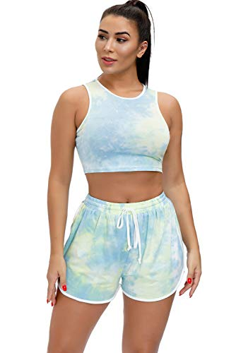 EVELIFE Tie Dye Mujer 2 Piezas Ropa Deportiva Mujer Gym Conjuntos Tops...