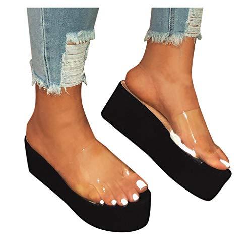 HIRIRI Summer Clear Strap Sandals for Women High Heels Peep Toe Platform Dress Shoes Flats Slippers Black
