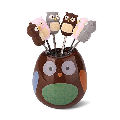 Zeltauto - 6 tenedores de frutas de acero inoxidable con diseño de animales de dibujos animados para ensalada y postre, viene con un soporte de cerámica