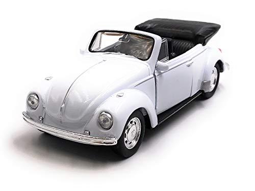 Onlineworld2013 Modellauto Käfer Beetle Cabrio Weiss Auto Maßstab 1:34-39 (lizensiert)