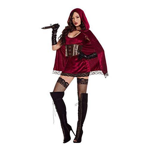 HOOLAZA Frauen Rollenspiel Böse Schlecht Rotkäppchen Kostüm Sonder und Sexy Cosplay Kleid 4 Stücke