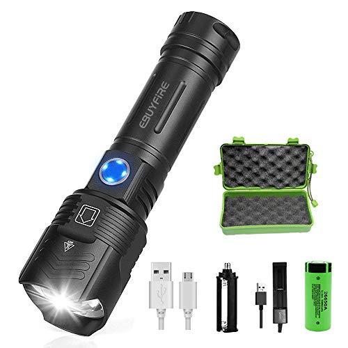 EBUYFIRE Linterna Led Recargable Alta Potencia,3000 Lúmenes XHP90 LED 5 Modos Zoomable...