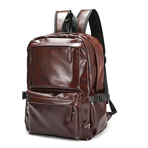 Zaino per Laptop da Viaggio, JOSEKO Zaino per Laptop Backpack in Pelle da Viaggio Zaino in pelle per Uomo e Donna Marrone