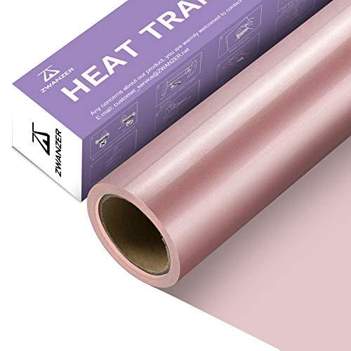 Zwanzer Lámina para plóter textil, 30,5 cm x 3,66 m, lámina flexible para Cricut y Silhouette Cameo, se utiliza en ropa de camiseta DIY y otros tejidos (oro rosa)