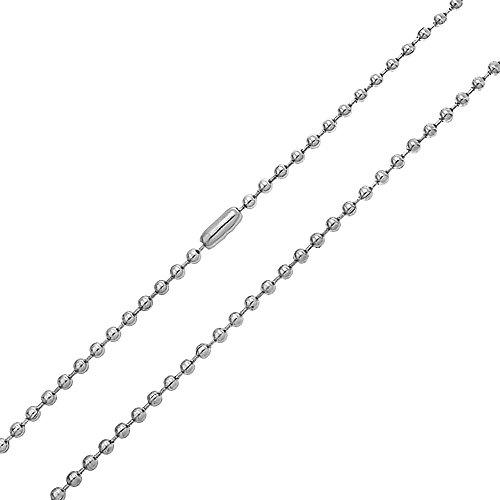Bling Jewelry Enlace Fuerte Tono Plata Granalla Acero Cordón Collar De Cadena De Bola para Hombres Y para Mujer De 20 Pulgadas De 3Mm