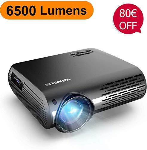 Videoproiettore,WiMiUS 6500 Lumen Nativa 1080P LED Proiettore Full HD Con 300'' Display Supporto 4K Correzione trapezoidale elettronica ± 50 °proiettore per Smartphone, PC,PS4