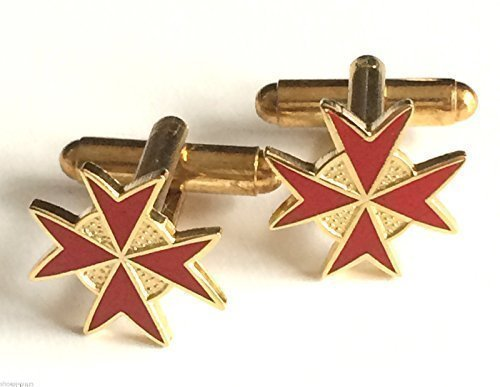 Boutons de manchettes émaillés rouges templiers/Chevaliers de Malte