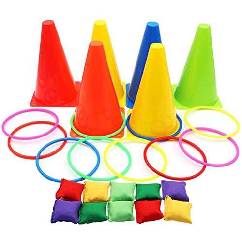BSTOB 26PCS 3 in 1 Carnival Games Set, Soft Plastic Cones Bean Bags Ring Toss Games for Kids Birthday Party Outdoor Games Supplies Combo Set