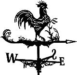 Alnicov Veleta de metal con diseño de gallo para el clima, estilo vintage, indicador de dirección de viento hueco para jardín al aire libre, decoración de paletas para clima