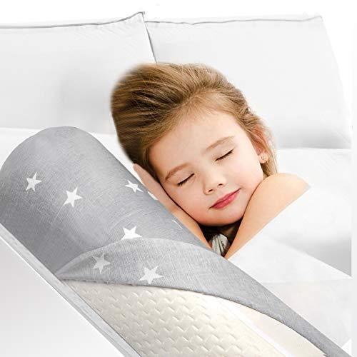 HBselect Bettgitter Memory Schaumgummi mit abziebarer Decke für Kleinkind Baby Kinder voll weich Bettrand Bettkante Rausfallschutz 132 x 18 x 11,5 cm, Einzel- Doppelpackung weiß (1 Pc)