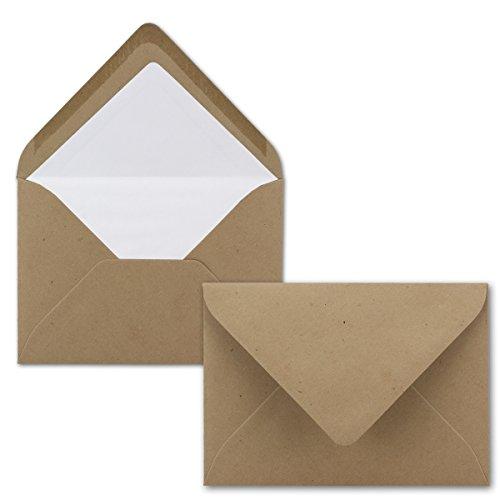 50 Brief-Umschläge Sandbraun - DIN C6 - gefüttert mit weißem Seidenpapier - 120 g/m² - 11,4 x 16,2 cm - Nassklebung - Ideal für Hochzeitseinladungen - NEUSER PAPIER