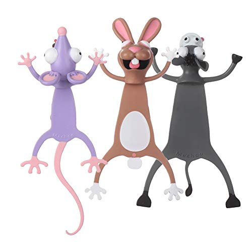 Bookmarks Wacky Pals for Kids Squashed Animals Novelty Funny Cute Plastic Party Favors Birthday Men Boys Girls Students Teens Got (Rabbit Donkey Mouse)
