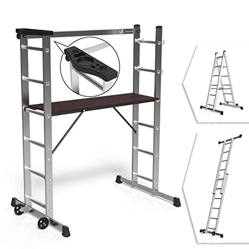 VOUNOT Alu Leitergerüst 3 in 1, Baugerüst Alugerüst Gerüst, Aluminium Leiter und Gerüst, Arbeitsbühne bis 150KG Belastbar, 2x6 Sprossen