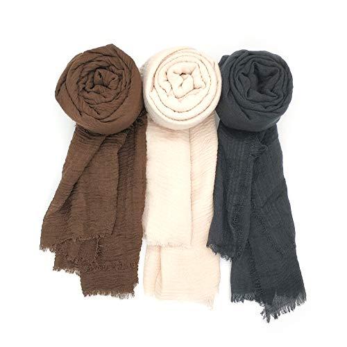 Focut Scarfs for Women,3PCS Women Soft Cotton Hemp Scarf Shawl Long Scarves, Travel Sunscreen Big Head Scarves, Black Brown Beige, Large