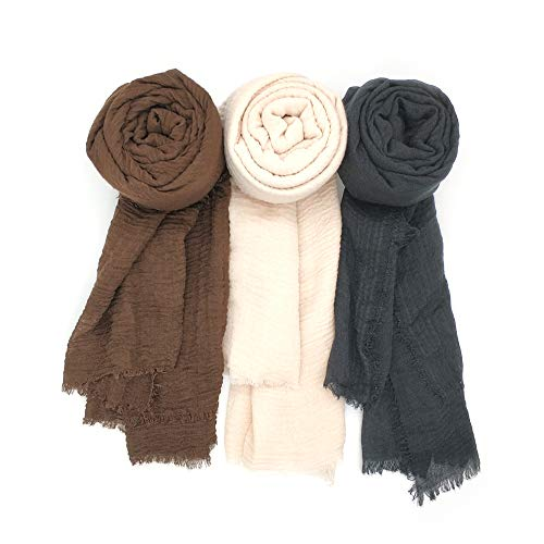 Focut Scarfs for Women,3PCS Women Soft Cotton Hemp Scarf Shawl Long Scarves, Travel Sunscreen Big Head Scarves, Black Brown Beige, Large