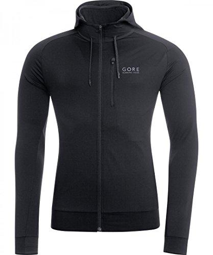 Gore Running Wear, Uomo, Corsa, Felpa con Cappuccio, Gore Selected Fabrics, Essential Hoody, Taglia L, Nero, SCORHO