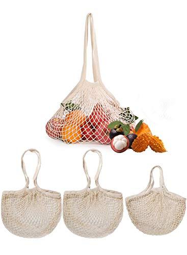 YFSEOS Einkaufsnetz Baumwolle 3 Stück,Tragbar Netztasche Veranstalter,Einkaufstasche Netz Tasche Wiederverwendbare Einkaufen Handtasche für Obst Gemüse Einkauf Markt (2 Lange+1 Kurze)