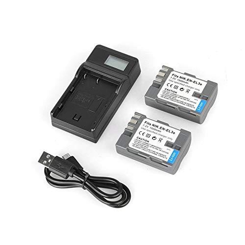 EN-EL3E 7.2V 1500mAh Paquete de batería de iones de litio de repuesto Cargador de batería de una sola cámara USB con kit de pantalla LCD