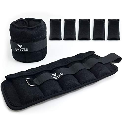 Virtee Adjustable Ankle Weights for Women Men Kids, Wrist Weight Set 1-5 lbs (1 Pair) with Removable Weight for Jogging, Walking, Gymnastic, Workout, 0.5-2.5 lbs Each Pack, 2 Pack