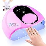 Lámpara de uñas LED UV, secador de uñas LED UV de curado más rápido de 168 W con 4 temporizadores Pantalla LCD con sensor automático para dos manos