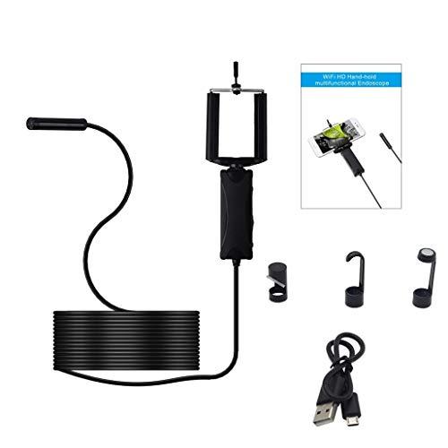 XBRMMM Telecamera di Ispezione Wireless Palmare da 8mm,Fotocamera per Endoscopio WiFi Telecamera di Endoscopio Impermeabile per Smartphone Android iOS (1m)