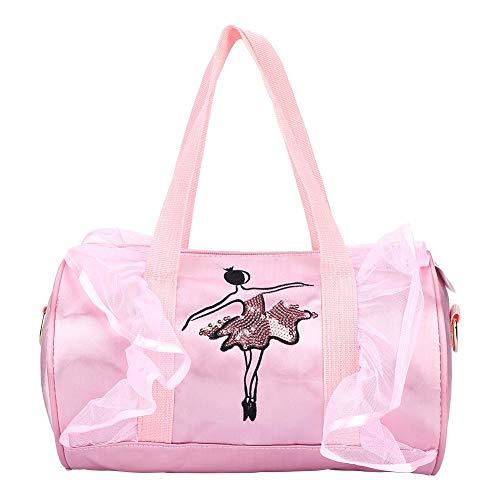 Duokon Borsa da Ballo Princess Ballet Borse a Tracolla a Tracolla Ballerina per Bambini Borsa da Ballo con Paillettes per Bambini(Rosa Langes Garn)