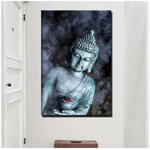 KONGQTE Smoke Vape Buddha Statue Buddhism Canvas Paintings Large Size Religious Buddha Wall Posters for Living Room Wall Decor-60x80cm No Frame