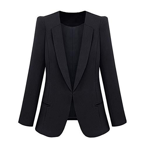 ZatRuiZE Chaquetas de Traje Mujer Abrigo de Manga Larga Bolsillos Laterales Blazer Delgado Negro