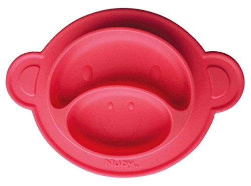 Nûby ID92913RED Rutschfester Esslernteller aus Silikon, rot