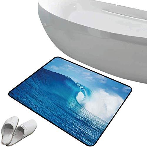 Alfombra de baño antideslizante Decoración del océano suave antideslizante Nublado Verano Cielo Ondulado Océano Aventura Surf Vacaciones Atracción turística Impresión de imágenes,Azul marino Para duch
