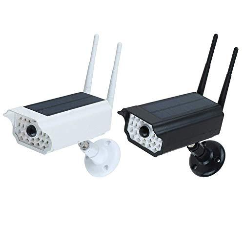 ZXCV Camara Vigilancia Exterior Cuerpo Humano Cámara De Seguridad A Prueba De Agua IP66 Sensor De Infrarrojos con La Cámara CCTV Solar Simulada Y La Luz LED (Color : White)