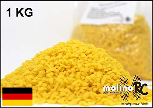 1kg = 1000g 100% Reine Bienenwachs Pastillen | Wachs | Perfekt geeignet für Kosmetik & Kerzen Herstellung | 100% natur | deutsche Marke molinoRC®